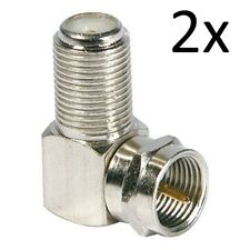 TV Antenna-satellite Cable Connector F-Type Male to Female Right Angle x 2