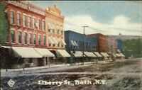 Bath NY Liberty St. c1910 Postcard