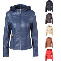 Chouyatou Women's Casual Lightweight Chest Pocket Hooded Zipper Leather Jacket