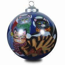 Innenglasmalerei Weihnachtsbaumkugel 'katzen mit Weihnachtsmützen'
