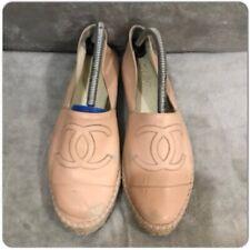 Chanel Light Pink Leather Calf CC Double Sole Espadrille Ballet Flat Size 38