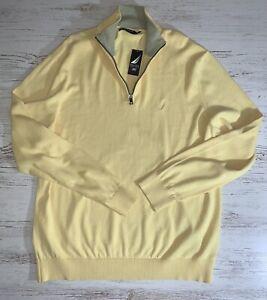 Yellow Nautica Shorline 1/4 Zip Lightweight Sweater Size XL Sail