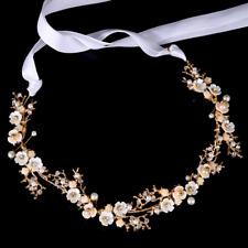 Fashion Crystal Pearl Plum Flower Headpiece Hair Band Bride Wedding Jewelry Gift