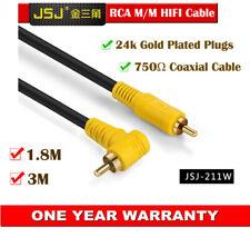 JSJ Premium SPDIF Audio Cable RCA Male to Male Coaxial Cord Angle Plug 3M 1.8M