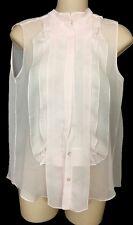 Chloe Blouse Pink Sheer Ruffle Front Sleeveless Silk Size 34