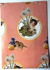 Vtg. Gift Wrap Paper Sheet Orange Kittens Original Mouth Painted R. Christensen