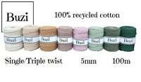 100 metres Macrame Single/Triple Cord Natural Recycled 100% Cotton Yarn 5mm
