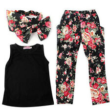 3pcs Fashion Baby Kids Girls Outfits Headband T-shirt Floral Pants Clothes Set