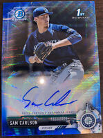 2017 Bowman Chrome Draft Sam Carlson Blue Wave Refractor RC #109/150 Mariners!