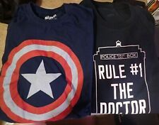 #8 LOT OF 2 MEN'S SHIRTS SIZE 3XL Dr. Who and Captain America Used
