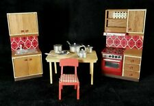 Vintage 1970s Lundby Sweden MidC Dollhse Kitchen Sink Stove Table Chair Pots EXC