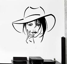 Wall Stickers Beauty Salon Beautiful Sexy Woman Hat Mural Vinyl Decal (ig1990)
