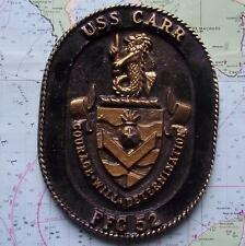 Vintage United States Navy Painted Metal Plaque Tampion Crest : USS CARR FFG52
