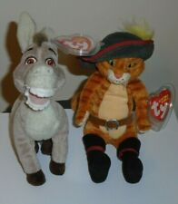 Ty Beanie Baby Set ~ PUSS IN BOOTS & DONKEY from SHREK (DVD Exclusives) MWMT'S