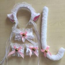 5PCS Cat Fox Fur Ears + Tail Wristbands Anime Neko Costume Hair Headband cosplay