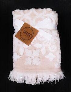 COMMON THREAD PINK & WHITE SWIRL PATTERN COTTON BATH,2 HAND TOWEL,OR 2 FINGERTIP