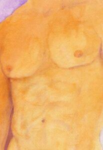 Golden Man, Painting NUDE  watercolor 1/7/50 Esteban Free Ship, nude male