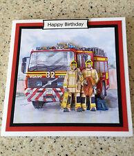 Handmade Happy Birthday 3D decoupage card fireman fire engine fire fighter