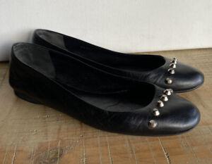 Balenciaga Ladies Black Leather Studded Pumps /shoes Size 371/2
