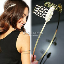 Roman Gold Leaf Feather Dainty Hair Crown Head Dress Alice Band Comb Bridal