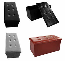 Faux Leather Ottoman Pouffe Large Toy Storage Box Home Office Stool Spare Seat