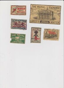 6 OLD AND SCARCE FLANDERS MATCHBOX LABELS INCLUDING RARE ROYAL EXCHANGE PACKET.