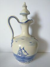 Vintage elegant french wine pitcher handpainted with blue sailboats