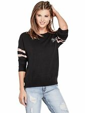 GUESS Sweater Women's Varsity Logo Soft & Slouchy Pullover Jumper XS Black NWT