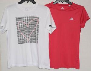 Lot of 2 Adidas White Heart Logo Print & Pink Short Sleeve T-Shirts Size M/L