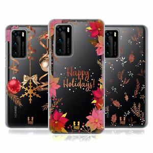 HEAD CASE DESIGNS GOLD CHRISTMAS SOFT GEL CASE FOR HUAWEI PHONES 4