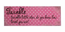 """TWINKLE TWINKLE, HOW LOVED YOU ARE Wooden Sign, 15.75"""" x 5.5"""", by Transpac"""