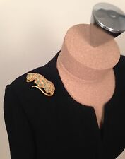 Vintage Pauline Rader Leopard Shoulder Brooch with Pearl Spots