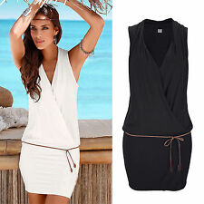Ladies V Neck Sleeveless Wrap Dress Summer Beach Party Casual Short Mini Dresses