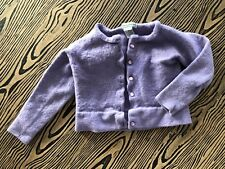 Stephanie Andrews Girl's Purple 100% Merino Wool Button Down Sweater Size M