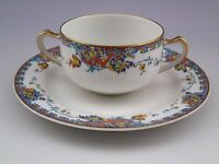 Limoges Haviland France Paisley Bouillon Cup and Saucer #2