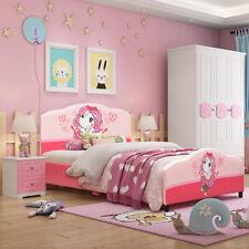 Costway Kids Children Upholstered Platform Toddler Bed Bedroom Furniture Girl