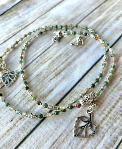 Beaded Lanyard~Natural Stone, Agate, silver plated ~  Mask or Glasses Chain