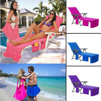 TOWELLING Lounger Mate Beach Towel Sun Lounger for Holiday with 4 Pockets & ZIP
