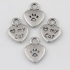 15Pcs Tibet Silver Heart Shape Cat Loose Spacer Bead Charm Jewelry Findings DIY