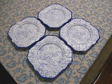 Baum Bros Style Eyes Blue Embossed Grapes Plate 8 Inch Salad Plates Lot of 4