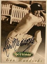 1995 FUTERA HERITAGE CRICKET COLLECTION CARD N0 18/60 SIGNED LEN MADDOCKS