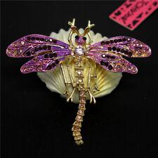 Enamel Dragonfly Rhinestone Girl Brooch Pin New Betsey Johnson Cute Purple Shiny