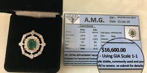 Unique 2.831 CT emerald diamond double halo ring,14k gold. Appraised $16,600