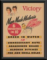 WWII Anti- Malaria Propaganda Poster Reprint On Original Period Paper *P250