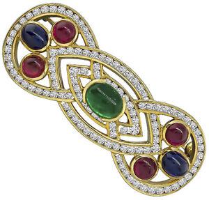 2.28ct Round Diamond Ruby Emerald Sapphire 14K Yellow Gold Brooch Pin