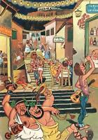 VINTAGE GREEK FUNNY FEAST in the PLAKA ATHENS COMIC POSTCARD
