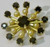 broche ancien bijou vintage couleur or cristaux diamant noir et perles 2629