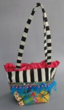 Sassy by Donna Purse shoulder bag Mardi Gras Carnival Feathers embroidery SILK