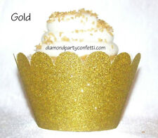 12 Gold Glitter Cupcake Wrapper  50th Anniversary Wedding Party Decoration Favor