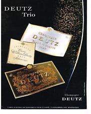 PUBLICITE  2008   DEUTZ  TRIO    champagne